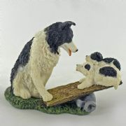 Border Collie and Pups Dog Ornament Figurine Bowbrook Moulds Sculpture